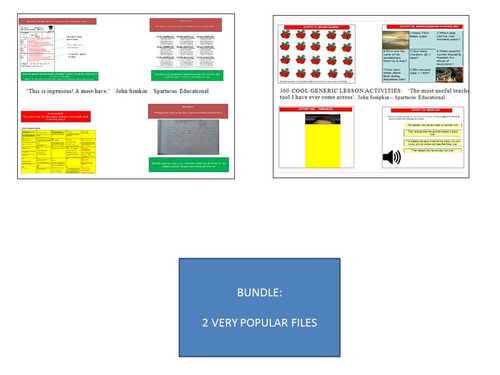 300 generic lesson activities and 50 marking time-busters. Make life easy!!