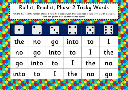 Roll it, read it Phonics games phases 2-5 tricky words | Teaching ...