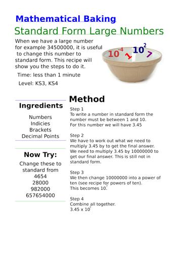 Mathematical Baking Standard Form By Mentor4maths Teaching