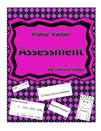 Place Value Math Quiz Assessment