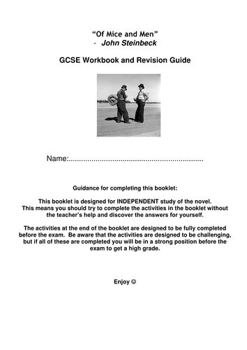 Perfect for Y9 students - Of Mice and Men revision guide