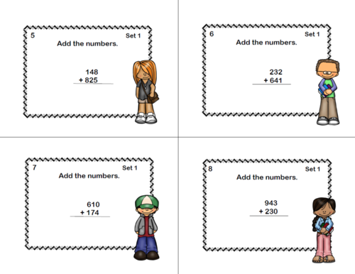 Math Task Cards-Grade 4-Adding and Subtracting Columns 3-9 Digits