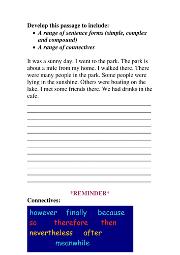Connectives resources - differentiated and great for an interview lesson!
