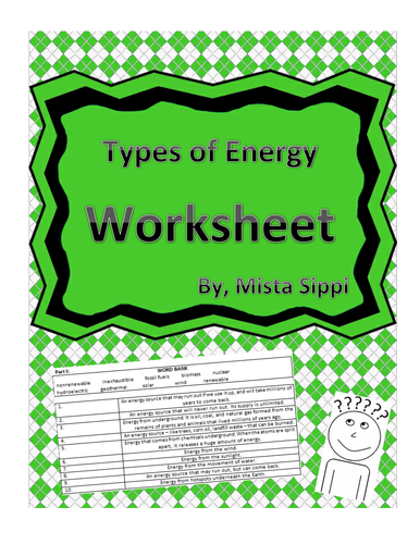 Types of Energy Worksheet by Hashtag_Teached - Teaching Resources ...