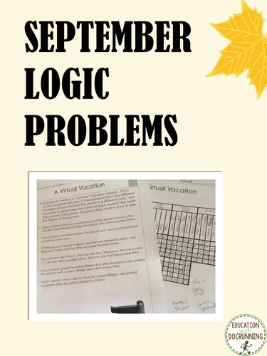 Logic Puzzles: September Logic Puzzles (Great for Fall or Autumn)