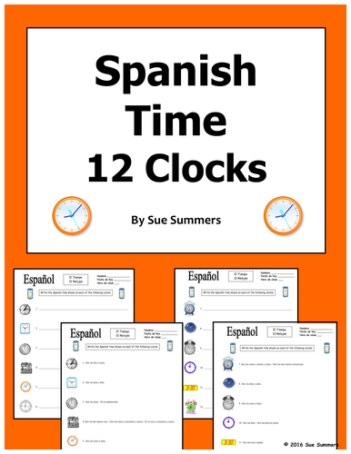 spanish time quiz or worksheet by suesummersshop teaching resources tes. Black Bedroom Furniture Sets. Home Design Ideas