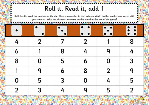 Roll it, Read it, Maths games for numbers under 10