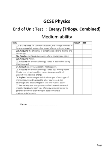 New GCSE Physics : Energy exam ( trilogy, combined)