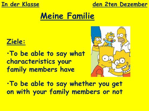 Describing Family - characteristics KS3 German