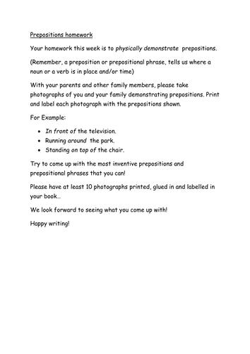 KS2 or LKS3 Prepositions HW task
