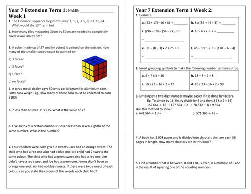 Year 7 homework help