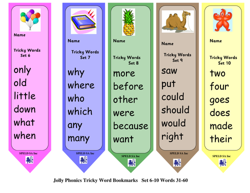 Tricky Word Book Marks (Comic Sans & Sassoon Font ...