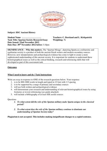 Sparta Essay Assessment