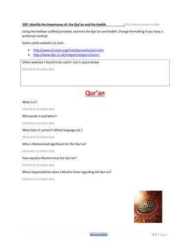Islam Sacred Text and Writings Scaffold