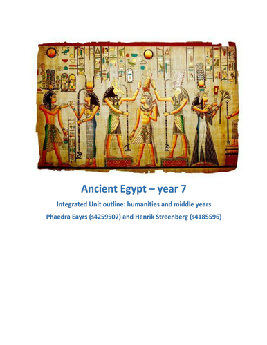 Ancient Egypt - integrated inquiry unit