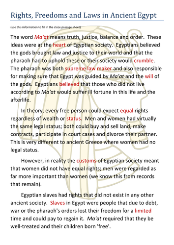 Ancient Egypt- Laws, Morals,  Rights and Freedoms