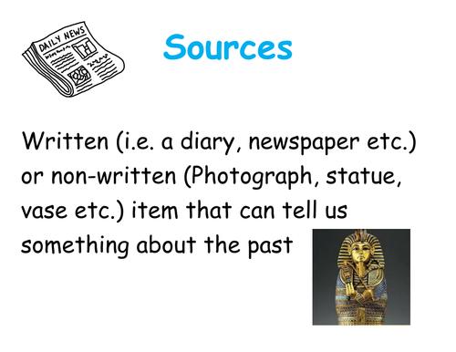 History key terms display