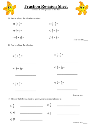 fractions revision sheet y6 by sarahbond uk teaching resources tes. Black Bedroom Furniture Sets. Home Design Ideas