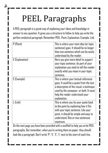 Peel Paragraph Writing By Bduh Teaching Resources Tes