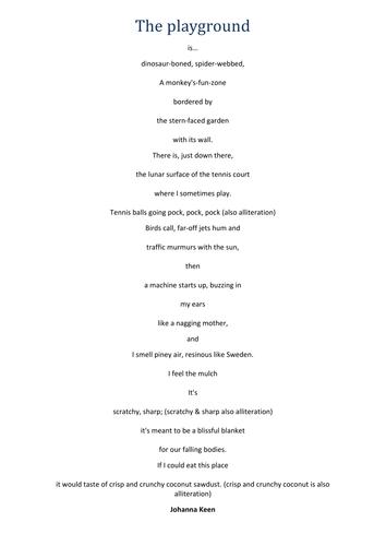 Figures of Speech activity - Playground Poem