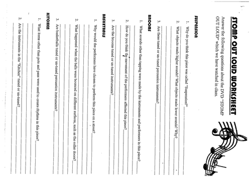 "STOMP ""OUT LOUD"" worksheet"