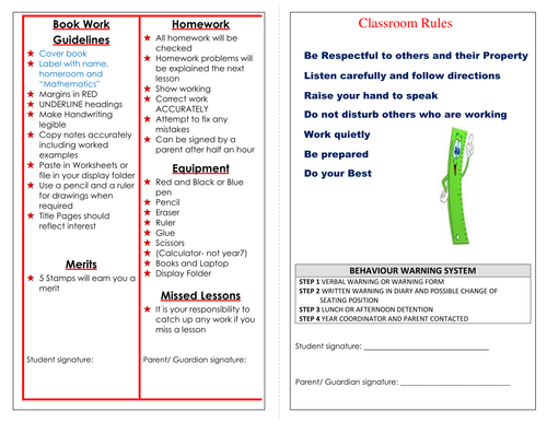 Printable Classroom Rules Sheet
