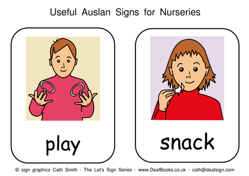 Auslan Sign Language Nursery Cards