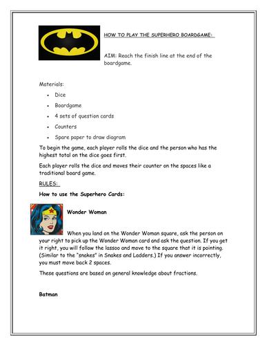 Superhero Fractions Boardgame