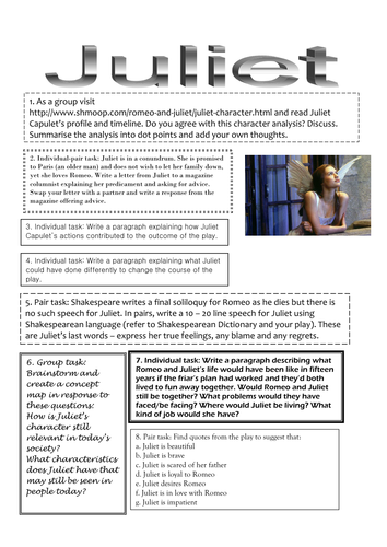 Romeo and Juliet: Characters by catnei - Teaching Resources - Tes