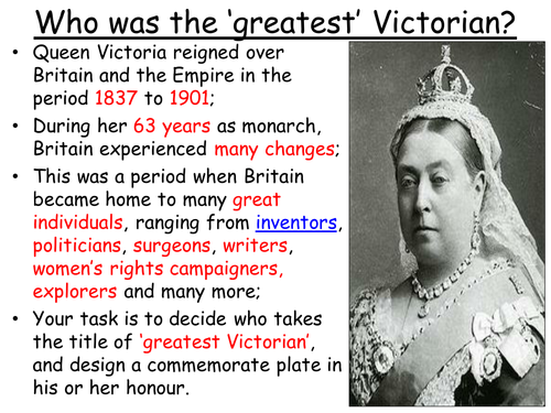 Who was the greatest Victorian? Design a commemmorative plate!
