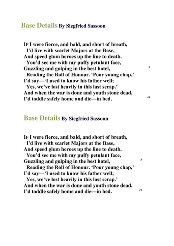 Base Details - war poetry by bexy85 - Teaching Resources - TES
