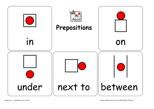 Prepositions Resource Pack Text Version
