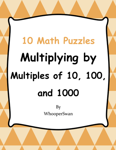 Multiplying By Multiples Of 10 100 And 1000 Puzzles By Bios444