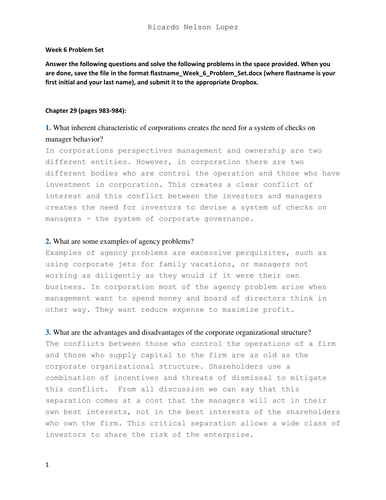finance 3220 problem set 1 essay 4 sample graduate school essays #1 from working poor to elite scholar one of the proudest accomplishments of my life was earning my college degree, despite the fact that my early adulthood.