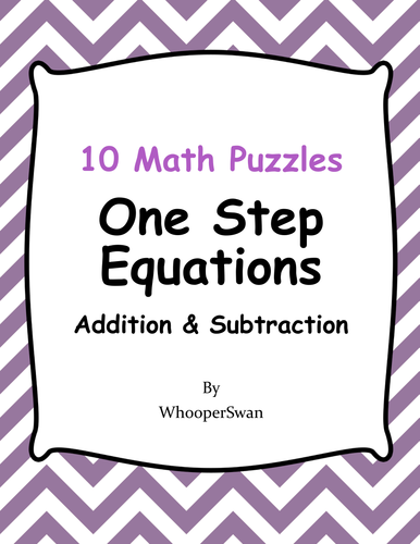 One Step Equations Addition Subtraction Math Puzzles By