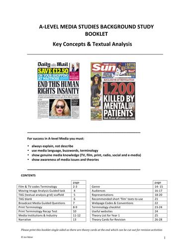 A-Level Media Studies Background Study Booklet - (Key Concepts)
