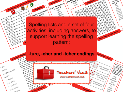 Y3 Spelling Activities Pack - Word endings ~ture, ~cher and ~tcher