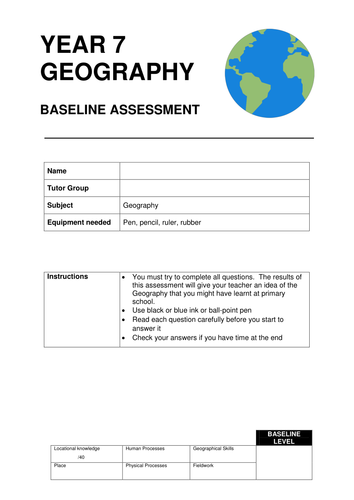 Geography KS3 Baseline Assessment Test and Mark Scheme for Year 7