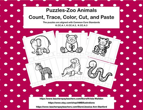 No Prep-Kindergarten Puzzles- Count, Trace, Color, Cut, and Paste-3 CCSS -Zoo