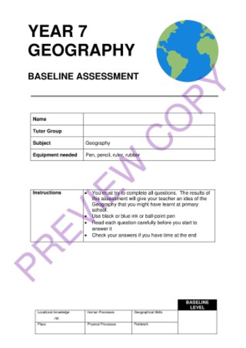 Geography KS3 Baseline Assessment Test for Year 7 - Full Preview Copy