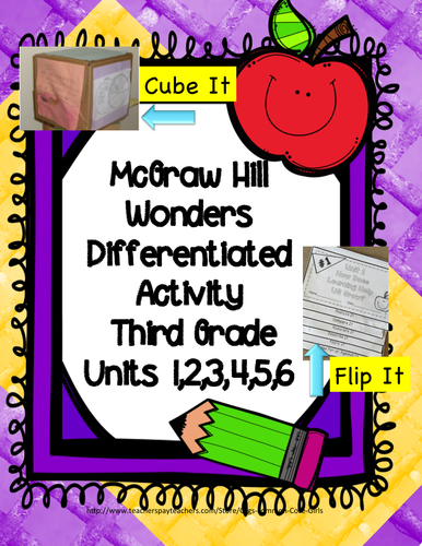 McGraw Hill Wonders 3rd Grade: Units 1,2,3,4,5,6 Differentiated Cubing/Flipbook Activity