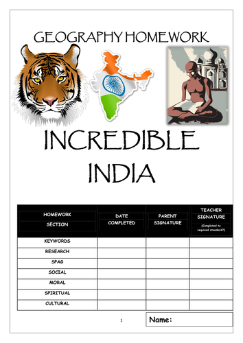 Homework booklet: INCREDIBLE INDIA