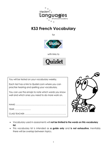 Vocabulary booklet for Studio 1 & 2(Rouge), with links to Quizlet.com