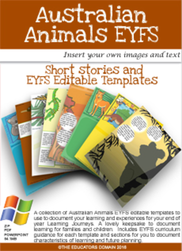 EYFS- Editable Learning Journey Pages- Australian Animals