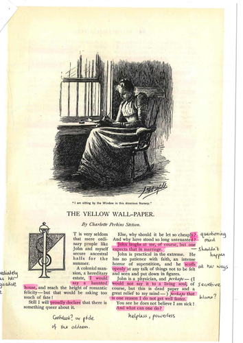 Highlighted and annotated copy of The Yellow Wall-Paper