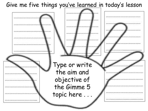 Gimme 5 - exit ticket/homework activity