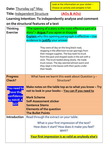 AQA English Language Paper 1 - Structure - The Road