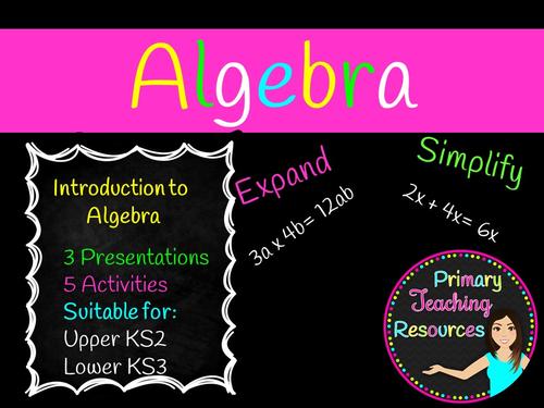Introduction to Algebra KS2/KS3 (Worksheets, presentations included)