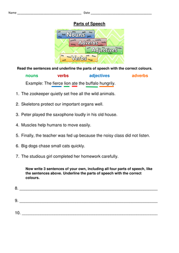 Parts Of Speech Worksheet Nouns Verbs Adjectives And