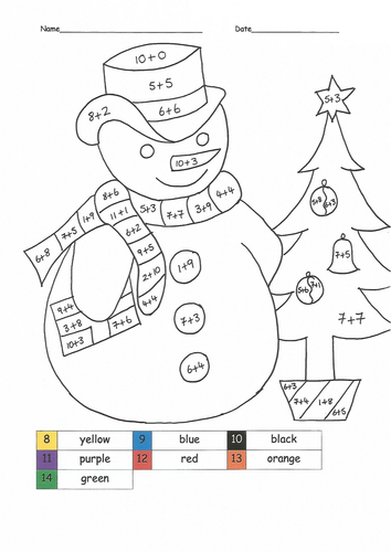 Christmas maths colouring sheets
